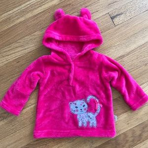 Duck Duck Goose Hooded Cat Sweatshirt Pink 6-9 mo.